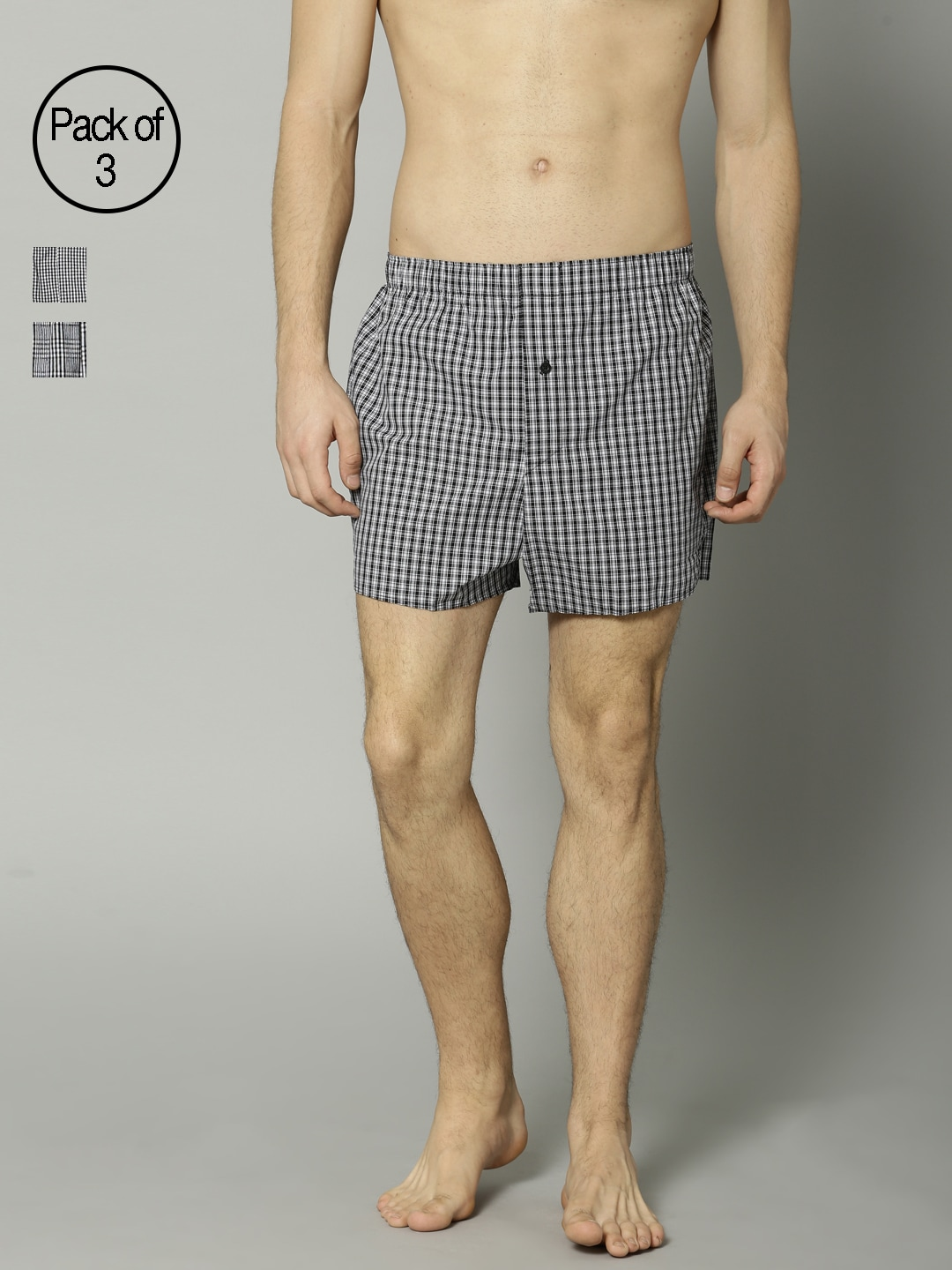 Marks & Spencer Men Pack of 3 Checked Boxers 3685 image
