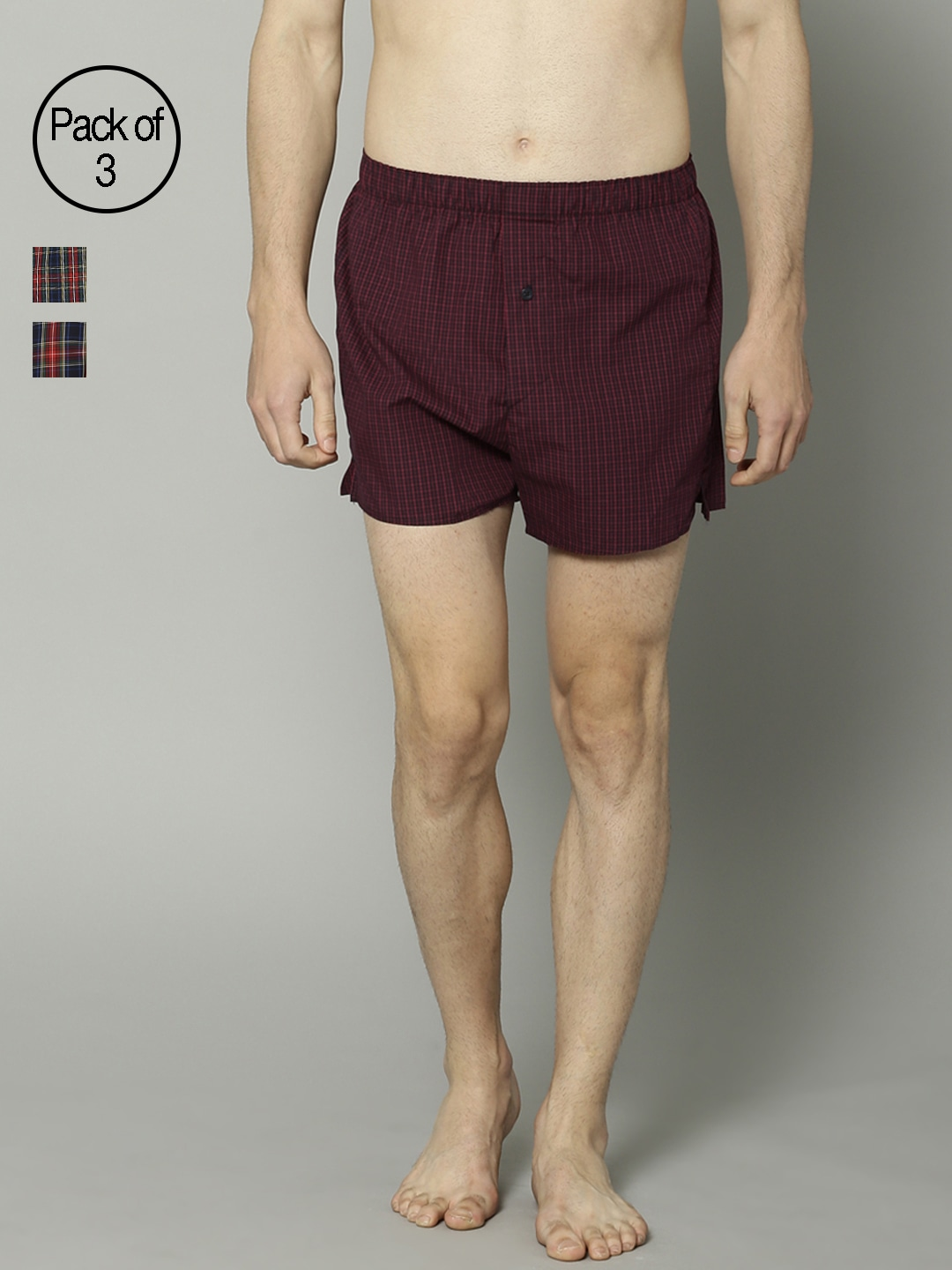 Marks & Spencer Men Pack of 3 Checked Boxers 3694 image