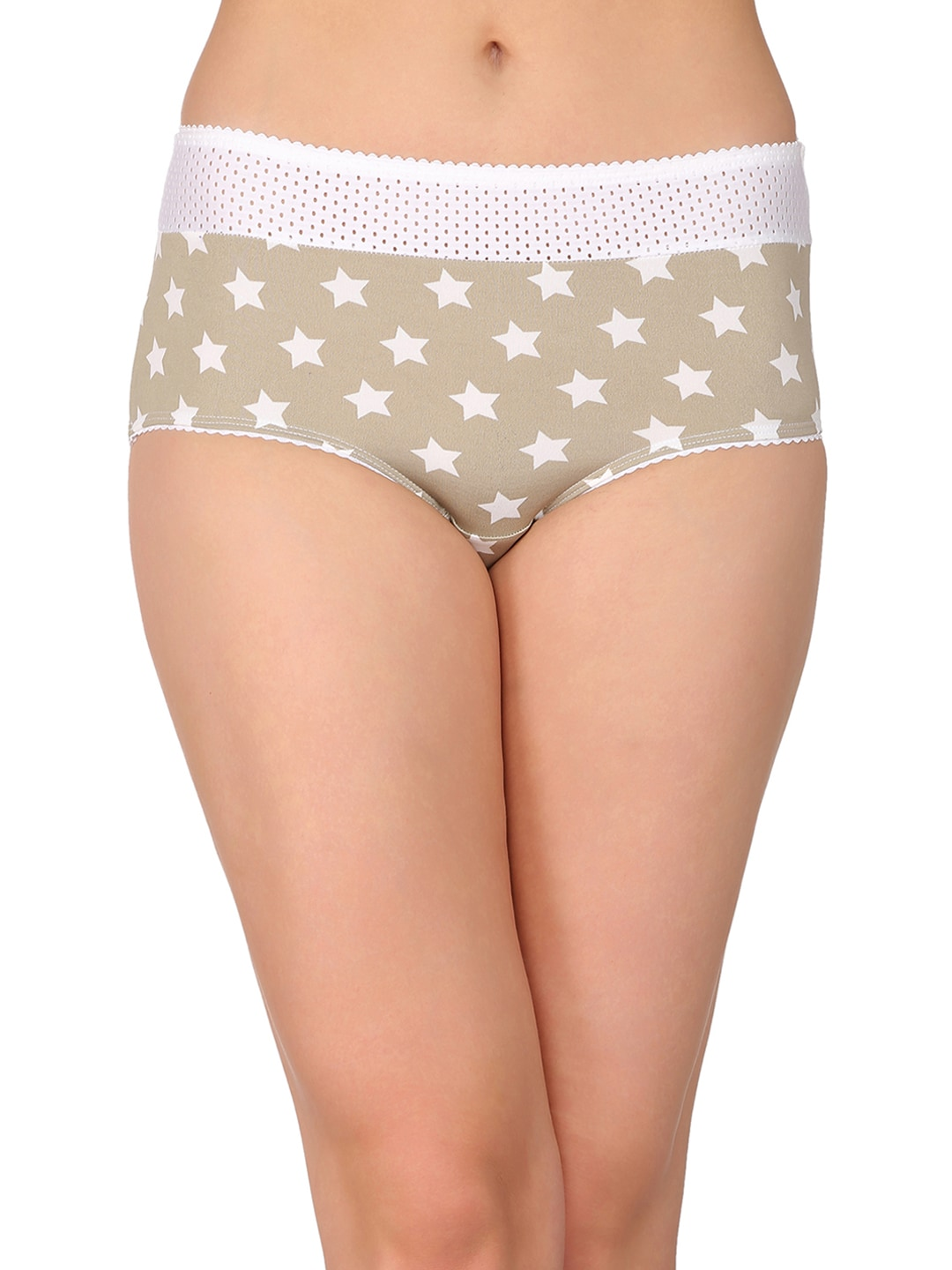 Clovia Women Olive Green & White Printed Hipster Briefs PN1843P11 image