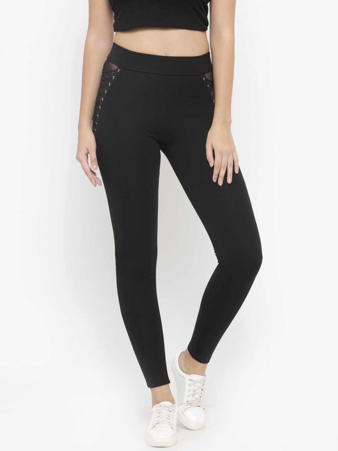 FOREVER 21 Black Treggings with Lace-Ups image