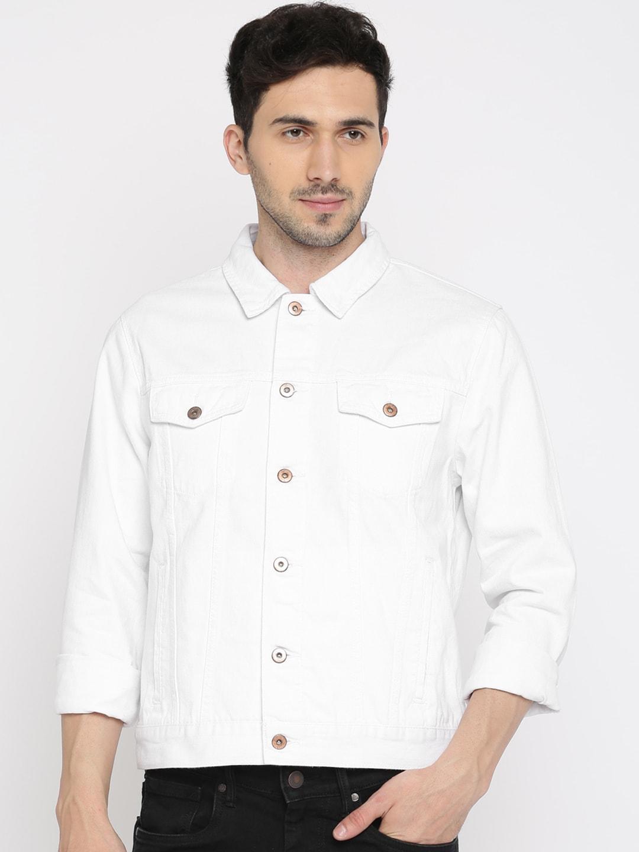 FOREVER 21 Men White Solid Denim Jacket image