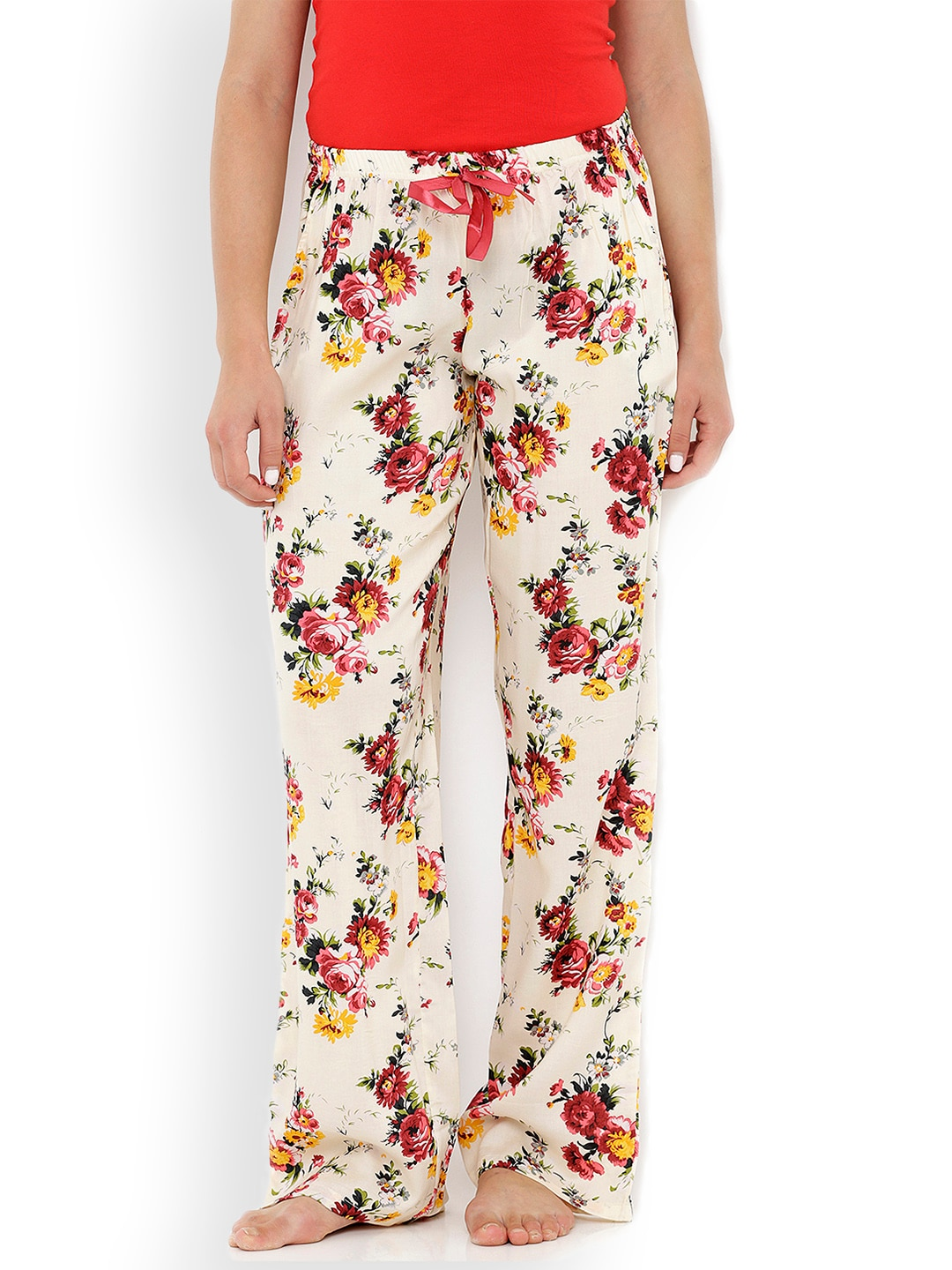 Heart 2 Heart Off-White Printed Lounge Pants LP115ROSEOW image