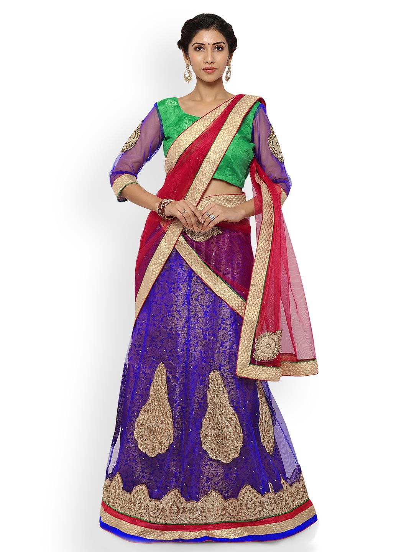 Triveni Green & Purple Semi-Stitched Lehenga Choli with Dupatta image
