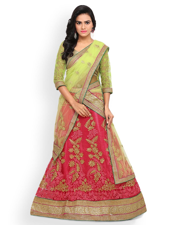 Triveni Pink & Green Semi-Stitched Lehenga Choli with Dupatta image