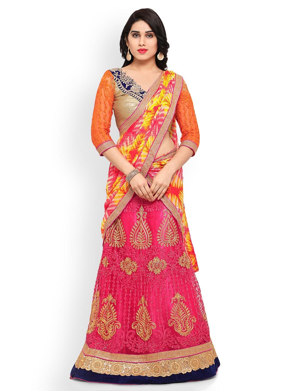 Triveni Pink & Orange Semi-Stitched Lehenga Choli with Dupatta image