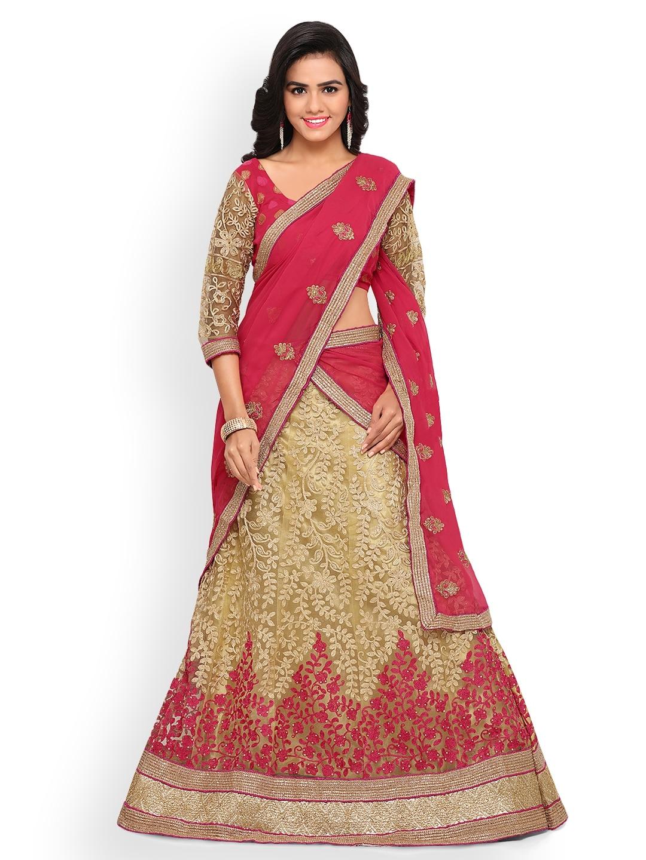 Triveni Beige & Pink Semi-Stitched Lehenga Choli with Dupatta image