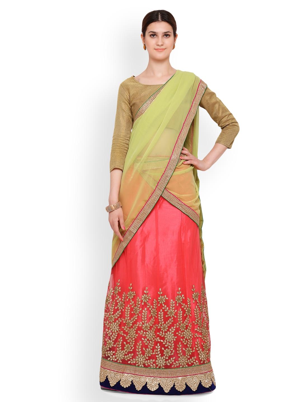 Triveni Pink & Gold-Toned Semi-Stitched Lehenga Choli with Dupatta image