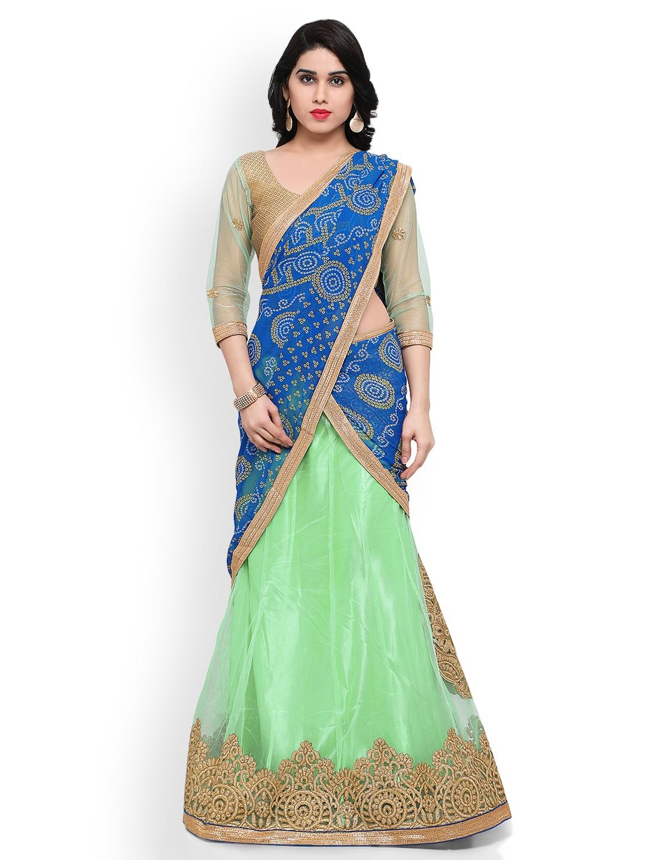 Triveni Green & Gold-Toned Semi-Stitched Lehenga Choli with Dupatta image