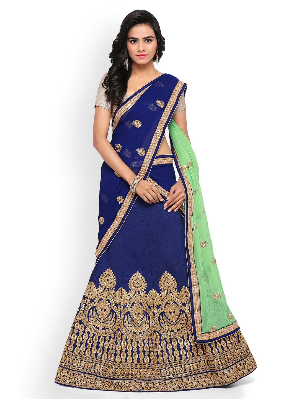 Triveni Blue Semi-Stitched Lehenga Choli with Dupatta image