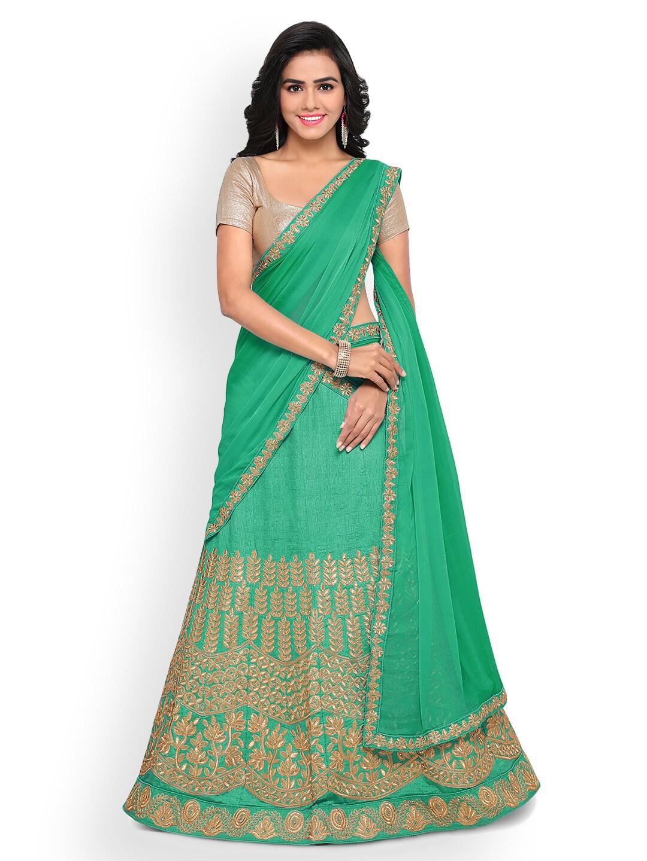 Triveni Green Semi-Stitched Lehenga Choli with Dupatta image