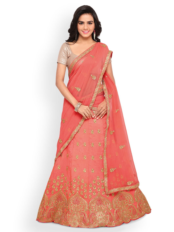 Triveni Peach-Coloured Semi-Stitched Lehenga Choli with Dupatta image