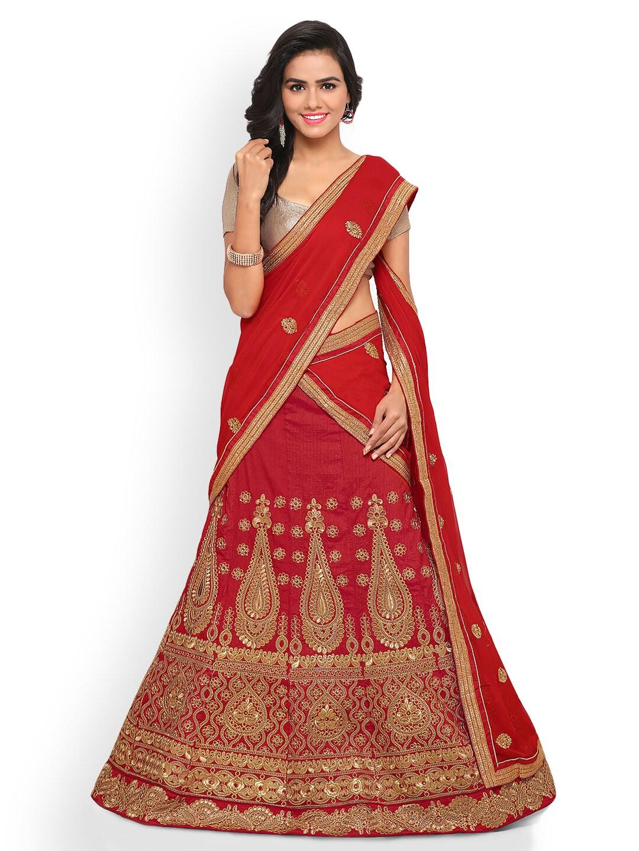 Triveni Red Semi-Stitched Lehenga Choli with Dupatta image