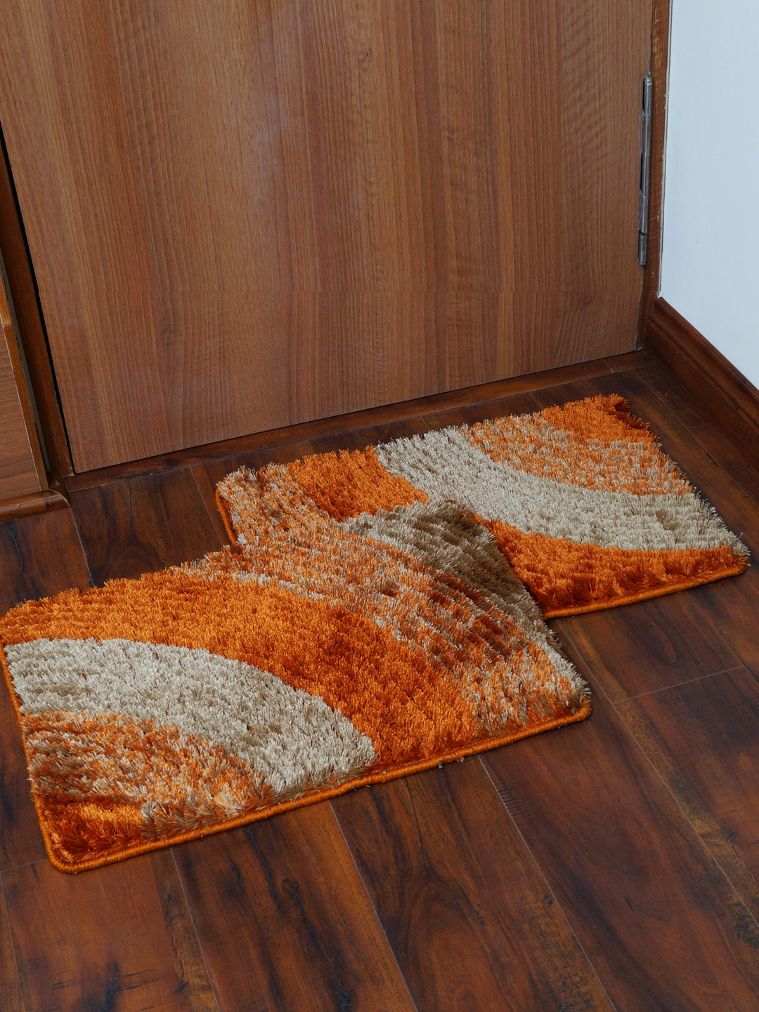 Story@home Orange & Brown Set of 2 Rectangular Anti Skid Bath Rugs image