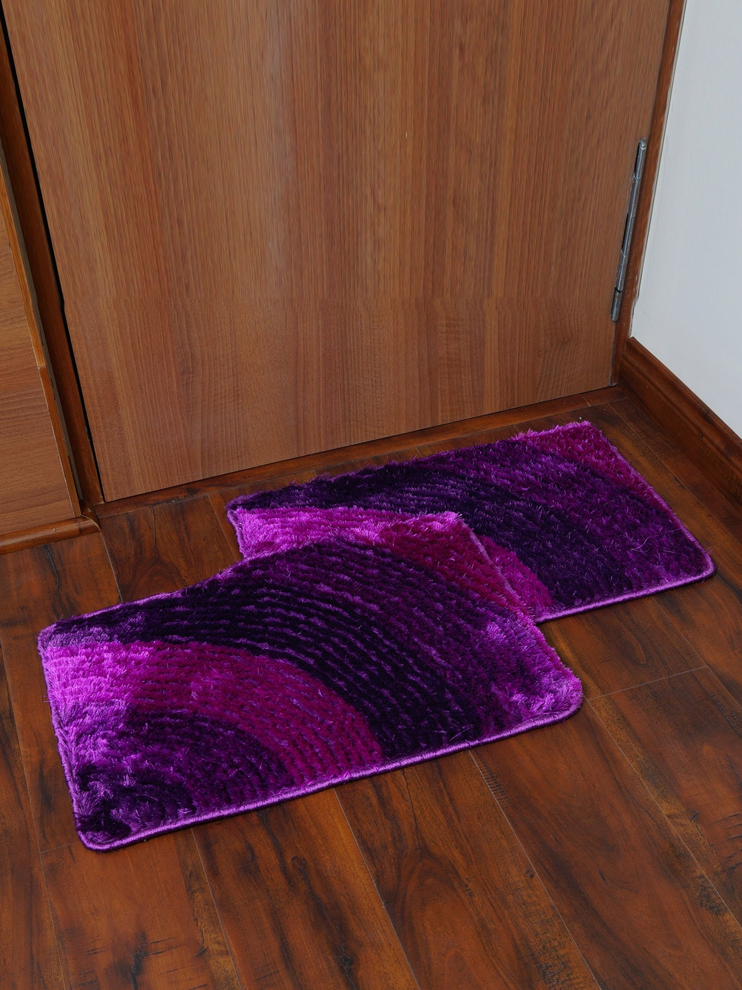 Story@home Purple Set of 2 Rectangular Anti Skid Bath Rugs image