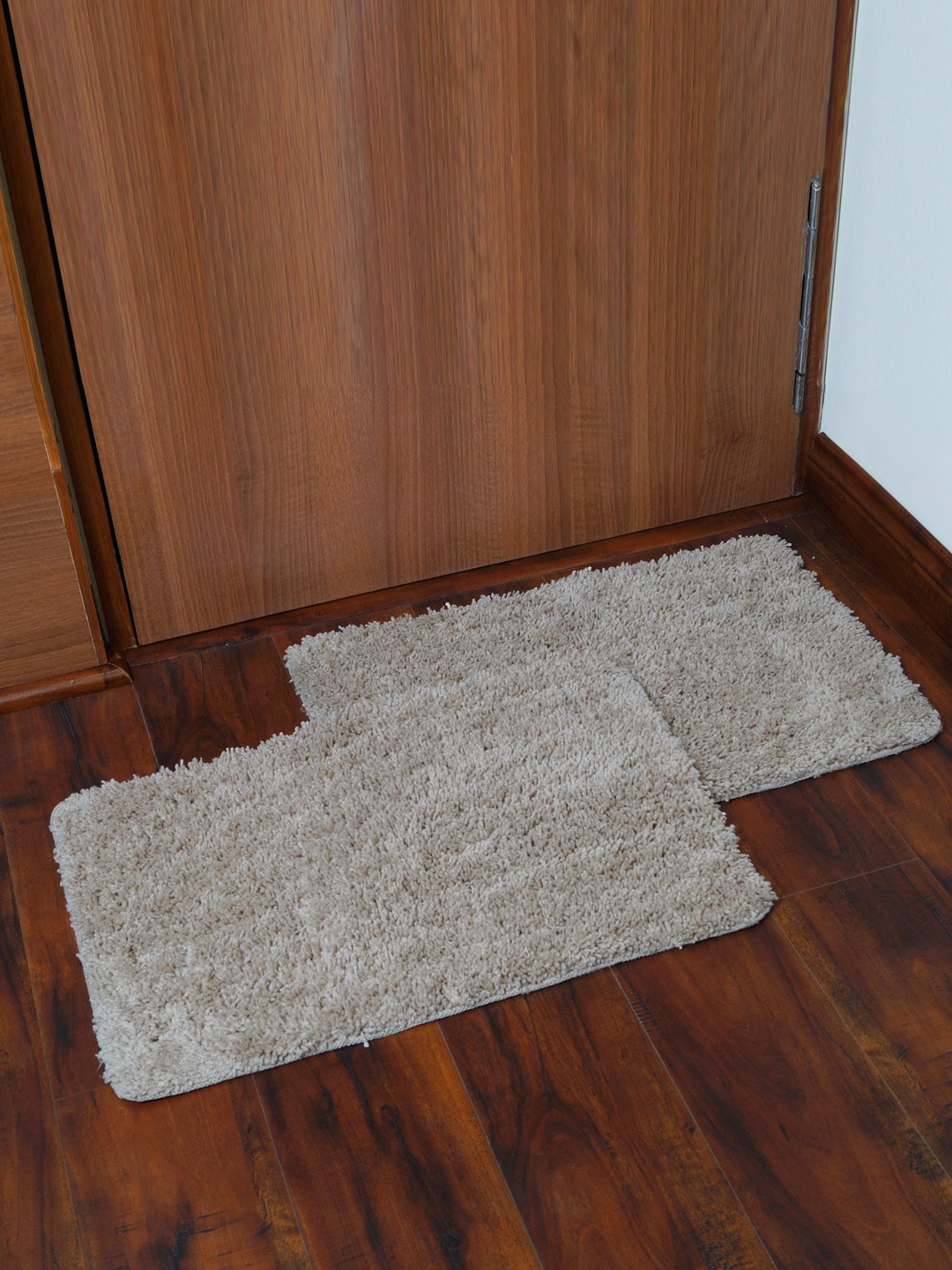 Story@home Grey Set of 2 Rectangular Anti Skid Bath Rugs image