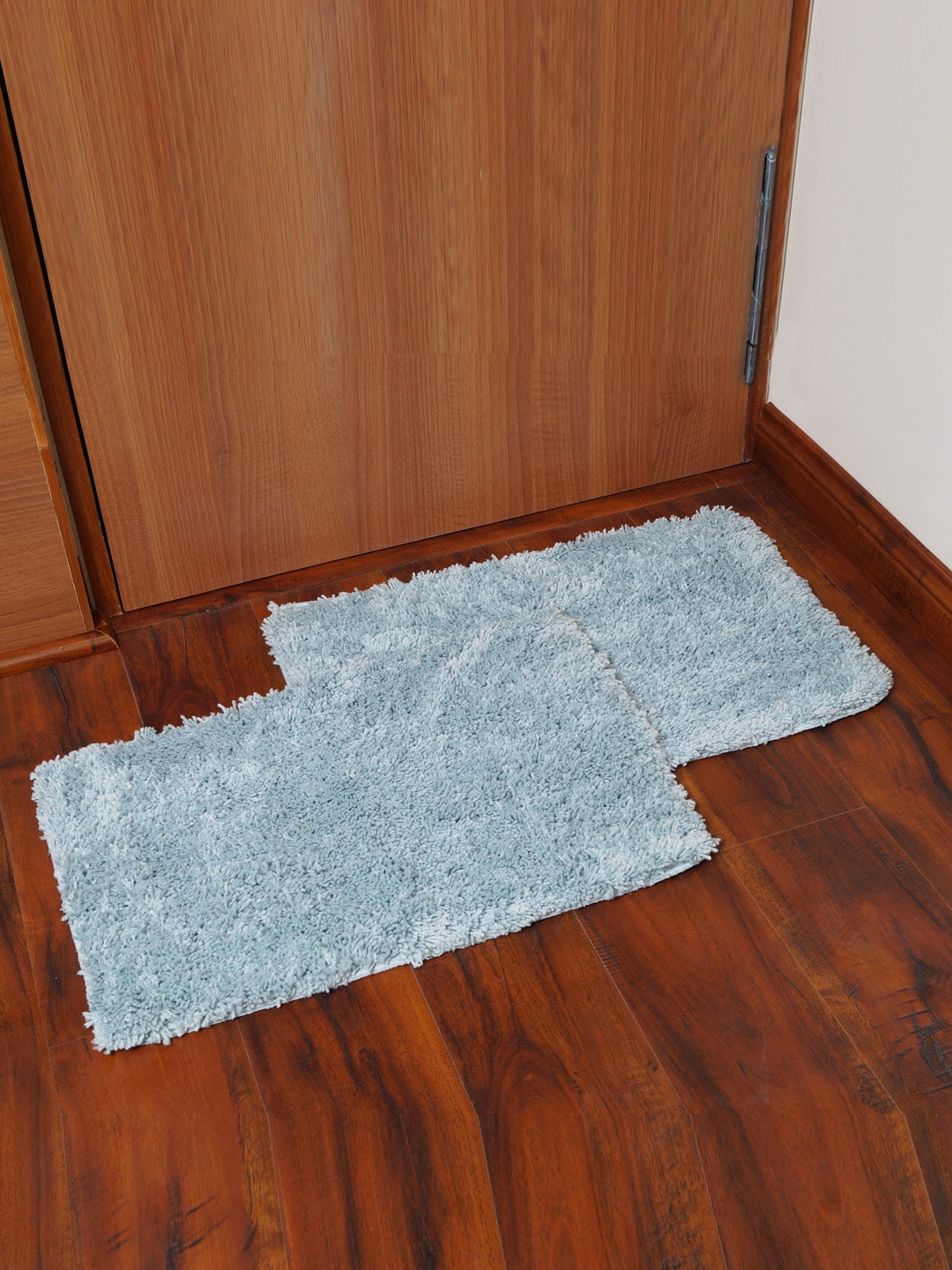 Story@home Blue Set of 2 Rectangular Anti Skid Bath Rugs image
