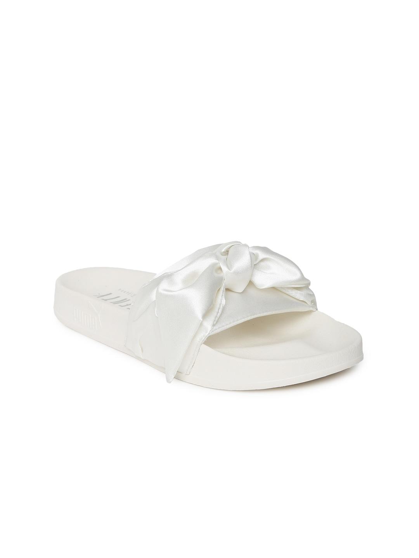 Puma Women Off-White Bow Open Toe Flats image
