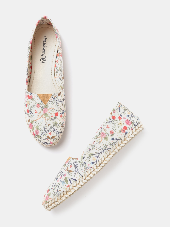 DressBerry Women Off-White Floral Print Espadrilles