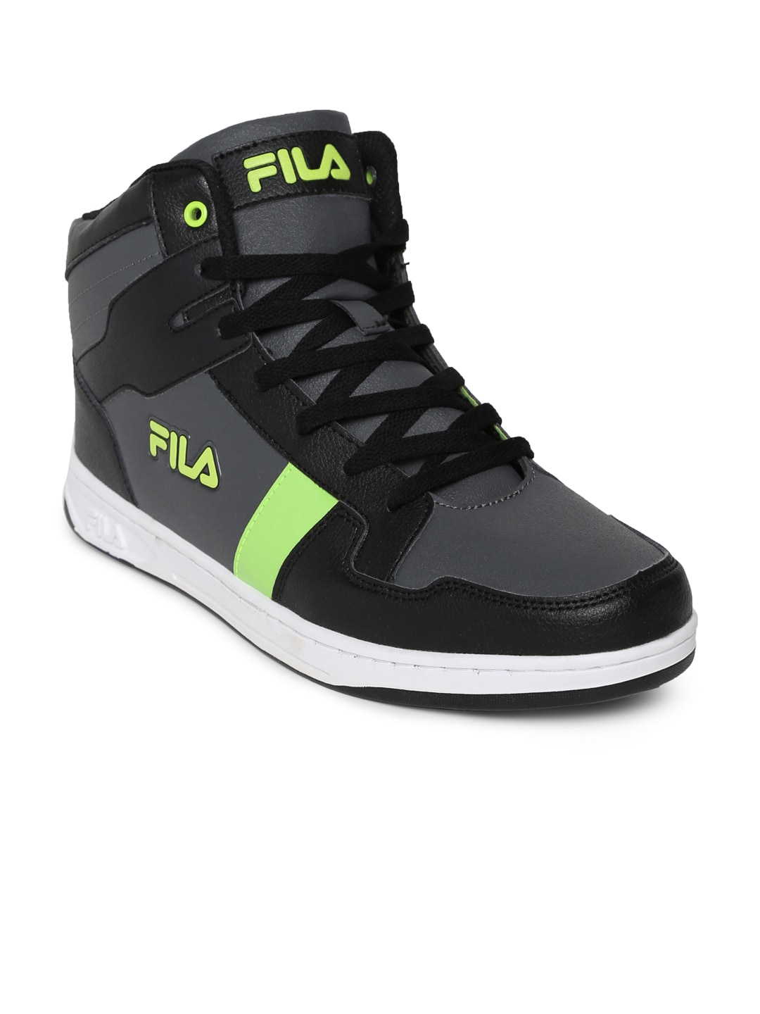 FILA Men Black Solid Synthetic DONZEL Mid-Top Sneakers image