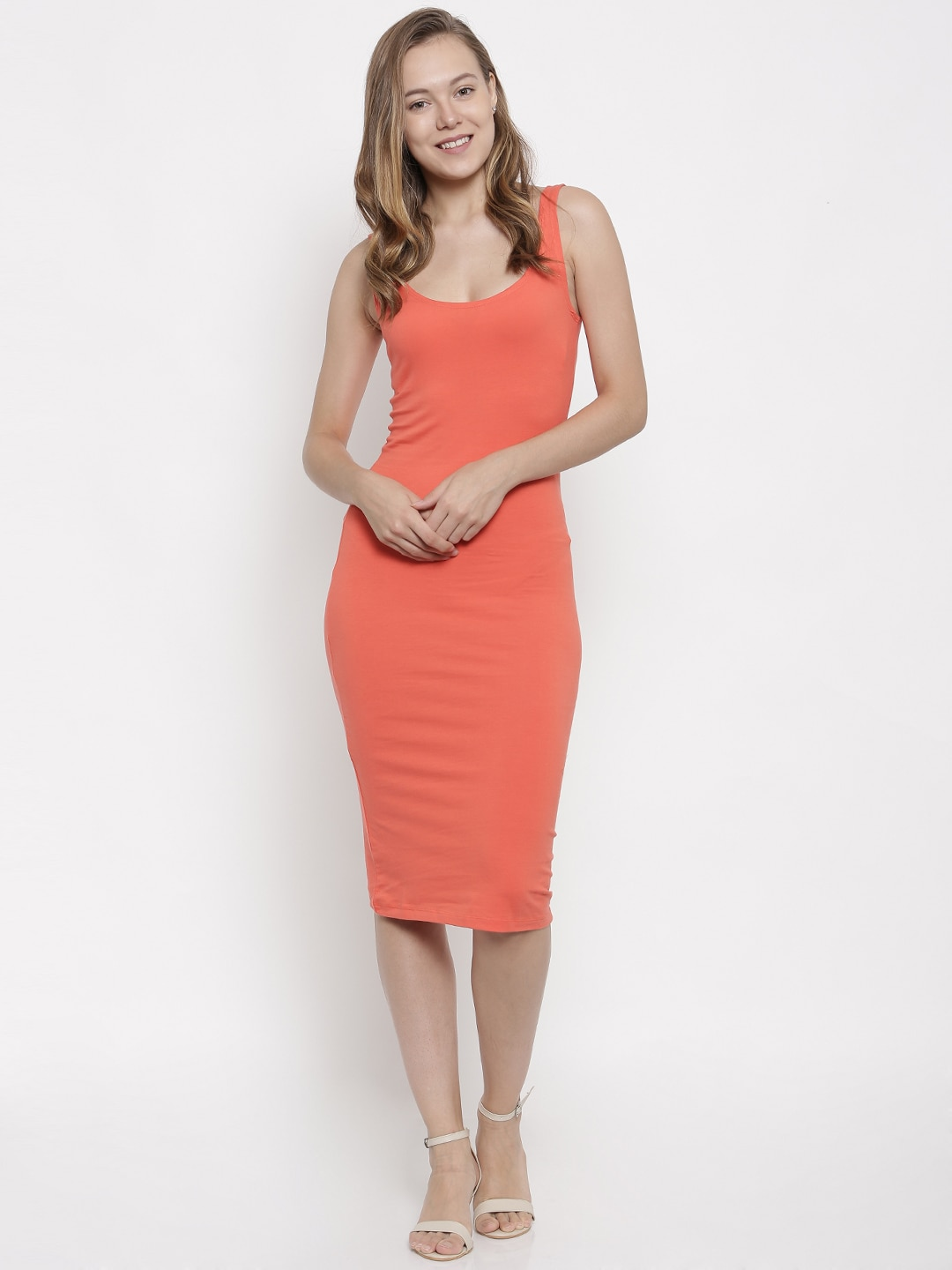 pink woman Women Coral Pink Solid Bodycon Dress image