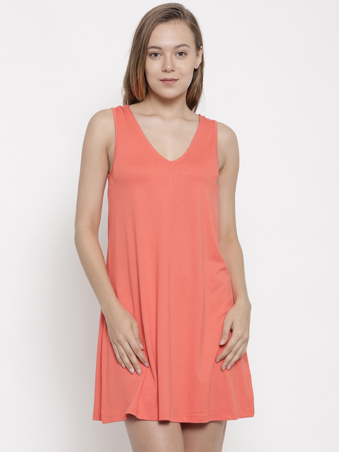 pink woman Coral Pink Solid A-Line Dress image