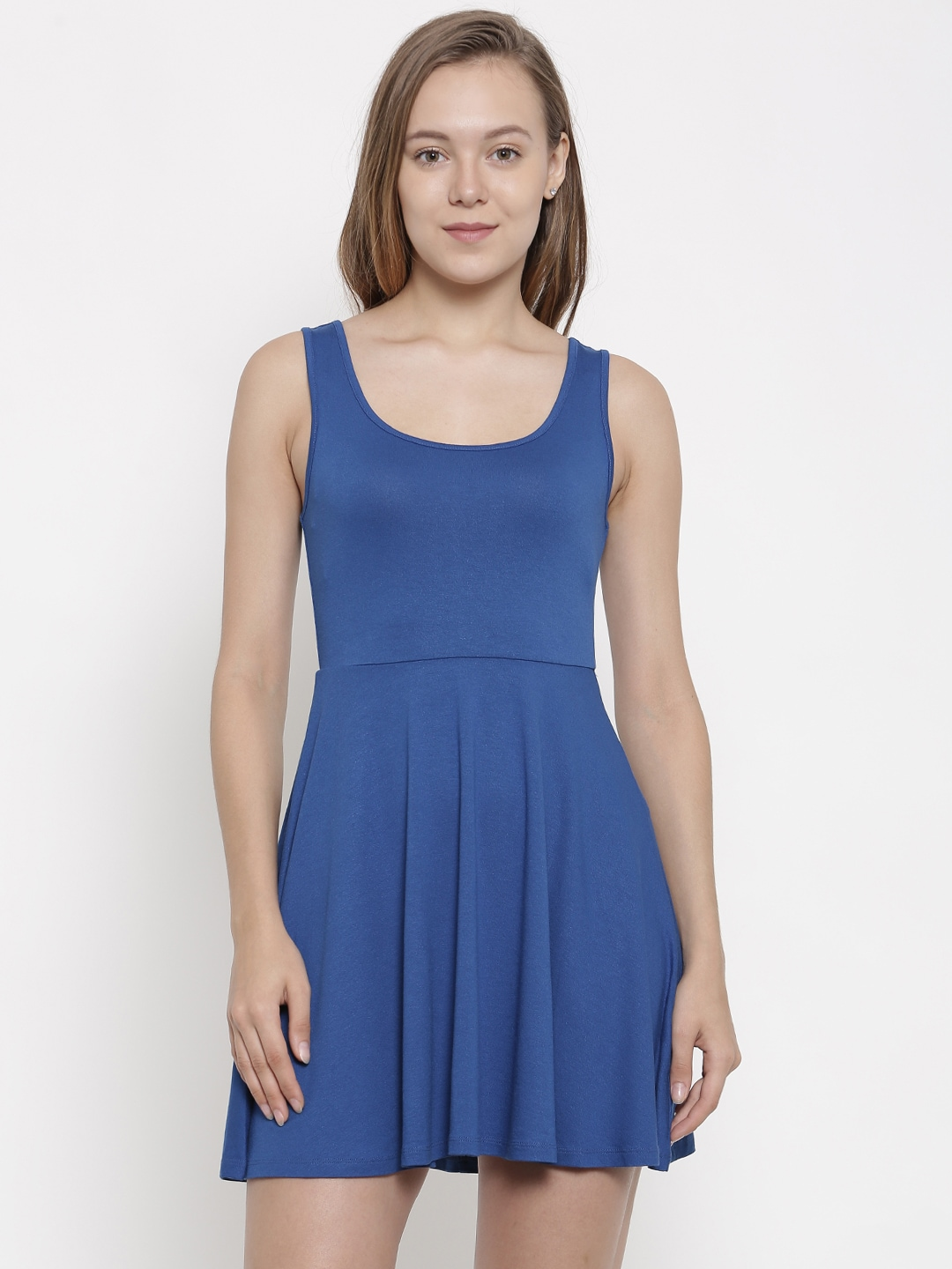 pink woman Blue Solid Fit and Flare Dress image