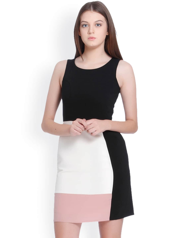 Vero Moda Women Black & Cream Colourblocked A-Line Dress image