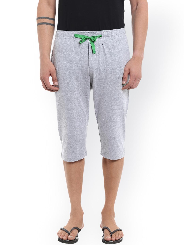 AVOQ Men Grey Melange Lounge Shorts image