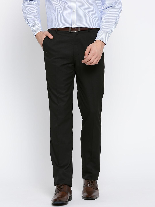 John Players Men Black Solid Formal Trousers image