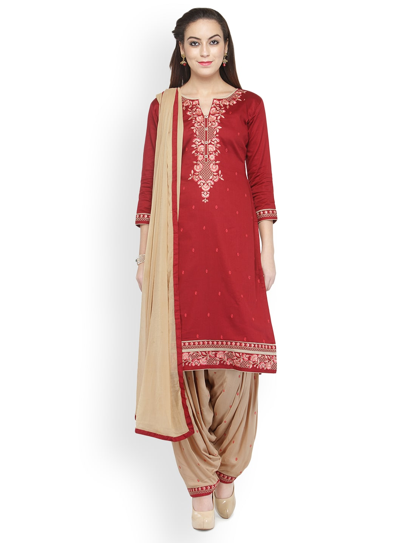 Kvsfab Red & Beige Cotton Blend Unstitched Dress Material image