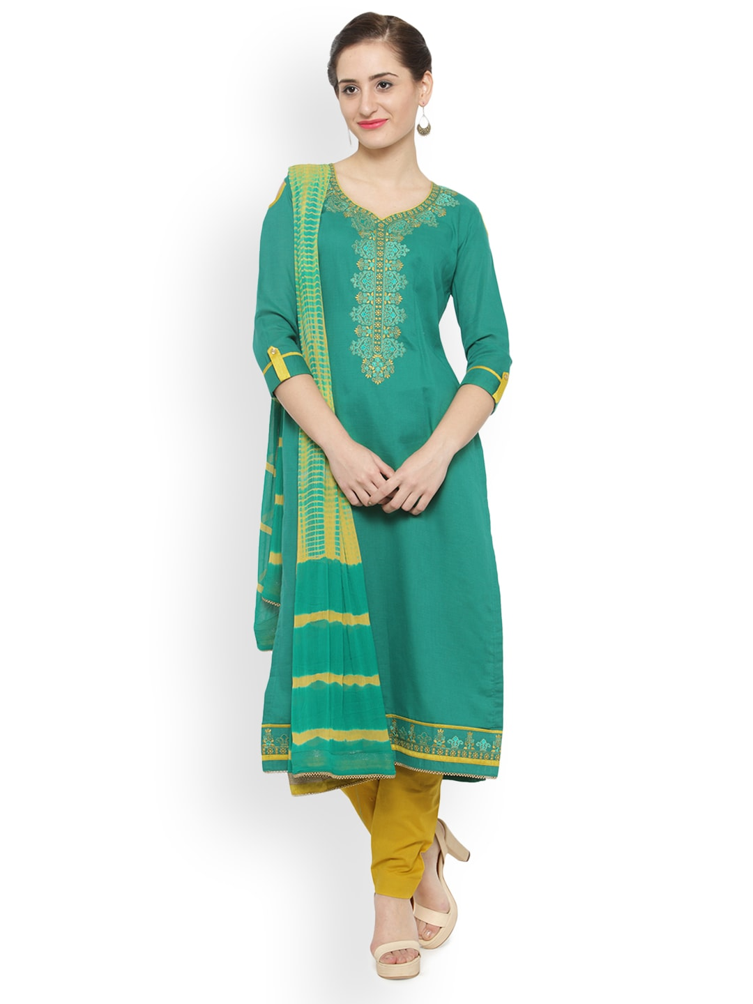 Kvsfab Green & Yellow Cotton Blend Unstitched Dress Material image
