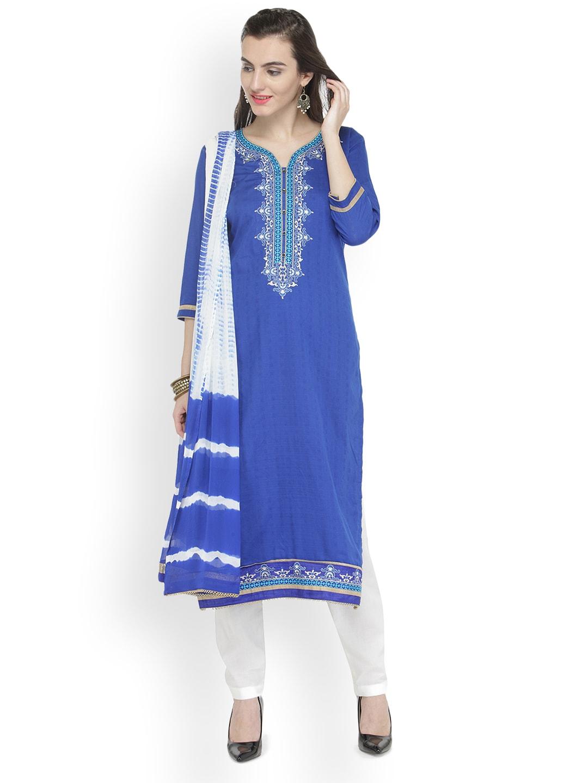 Kvsfab Blue & White Cotton Blend Unstitched Dress Material image