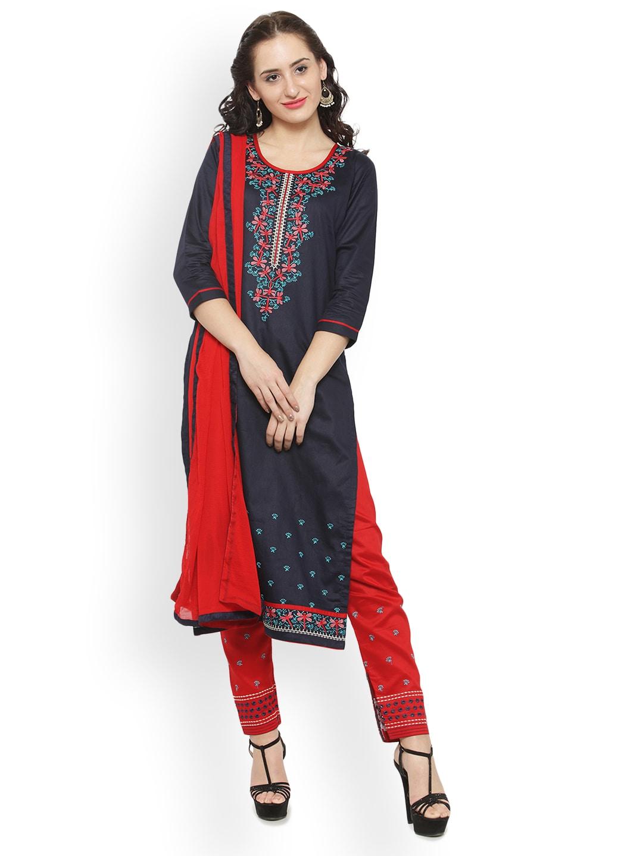 Kvsfab Black & Red Cotton Blend Unstitched Dress Material image