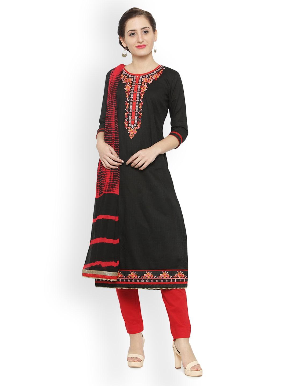 Kvsfab Black & Maroon Cotton Blend Unstitched Dress Material image