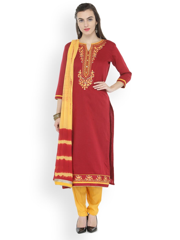 Kvsfab Maroon & Beige Cotton Blend Unstitched Dress Material image