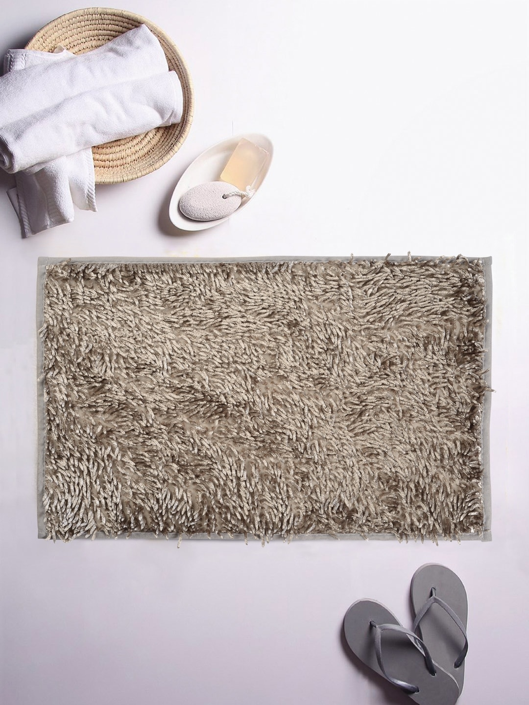 Cortina Grey Patterned Rectangular Bath Rug image
