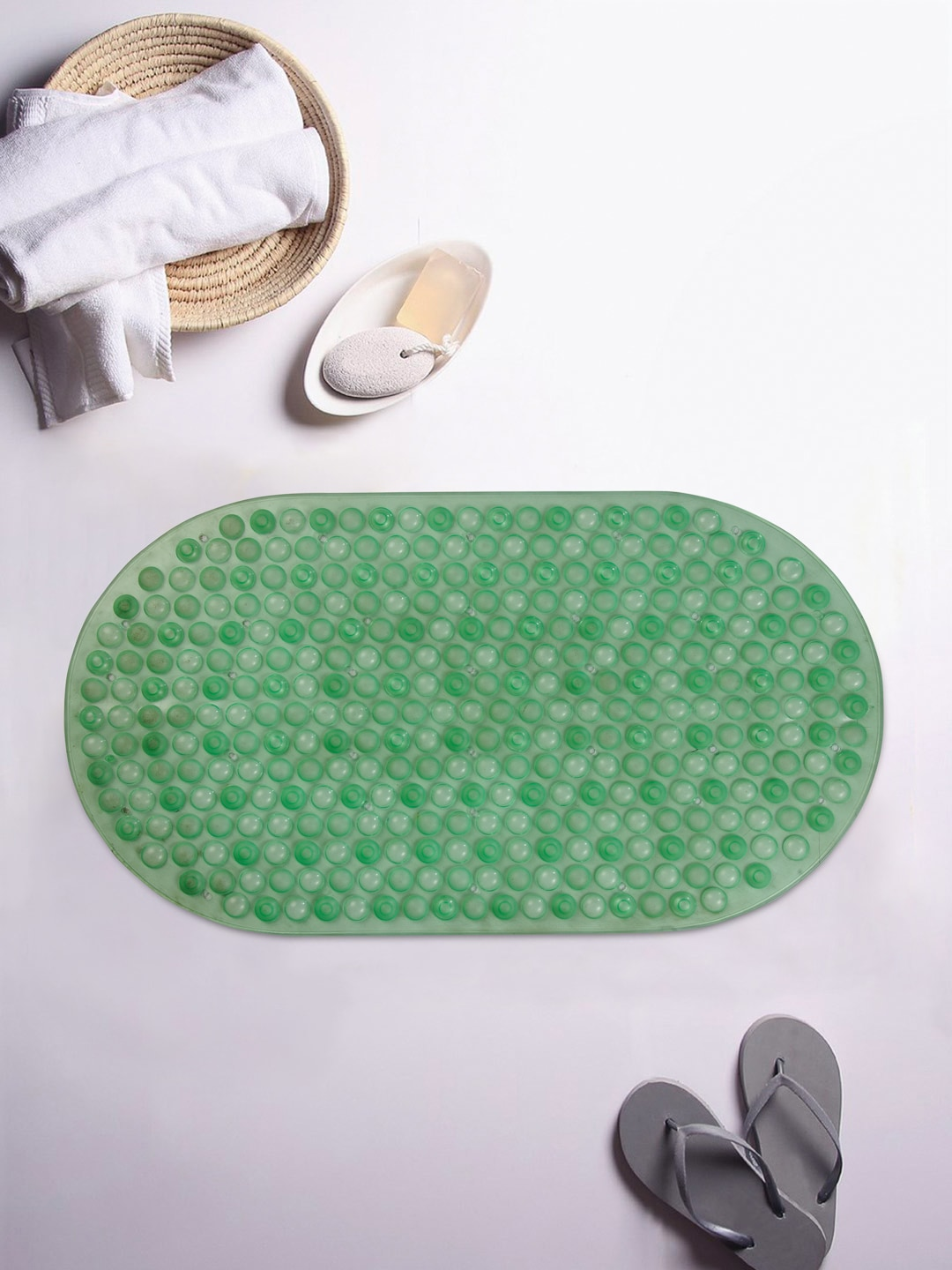 Cortina Green Embellished Oval Bath Rug image