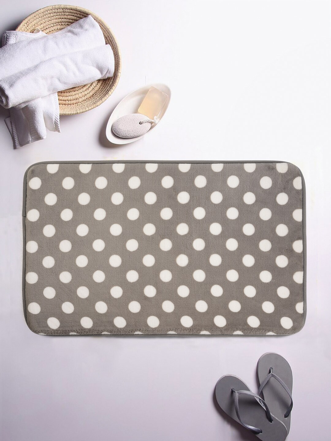 Cortina Grey & White Polka Dot Print Rectangular Bath Rug image
