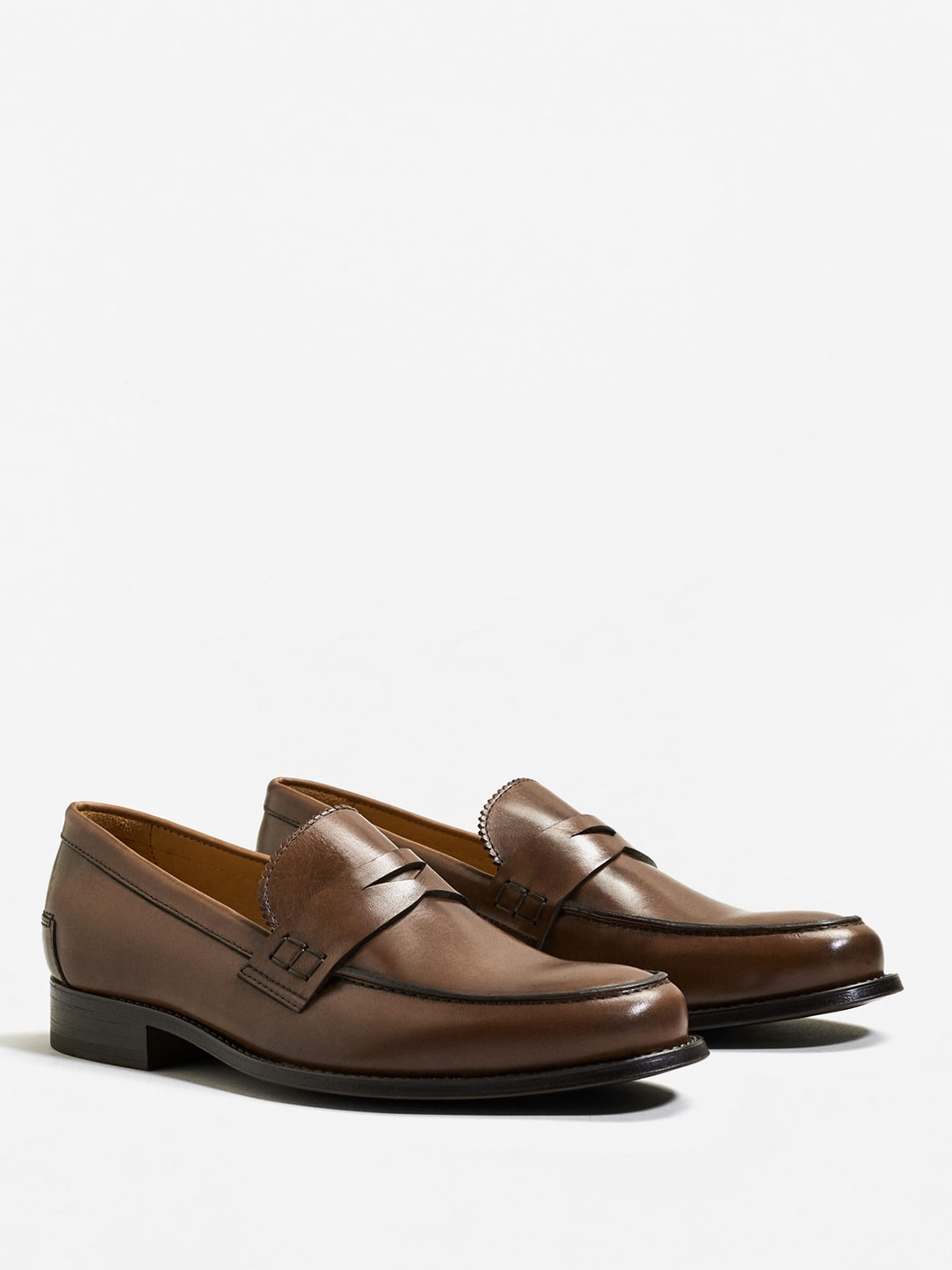 MANGO MAN Brown Leather Formal Loafers image