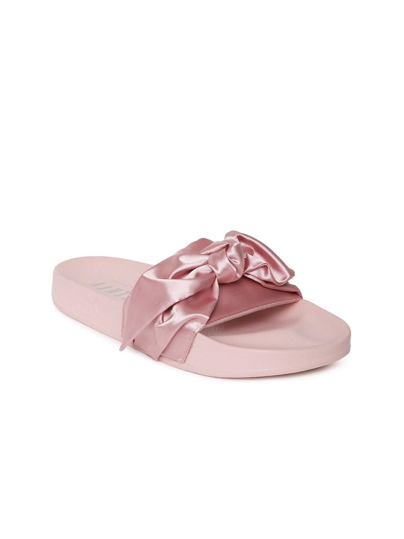 Puma Women Pink Solid Bow Slide Flats image