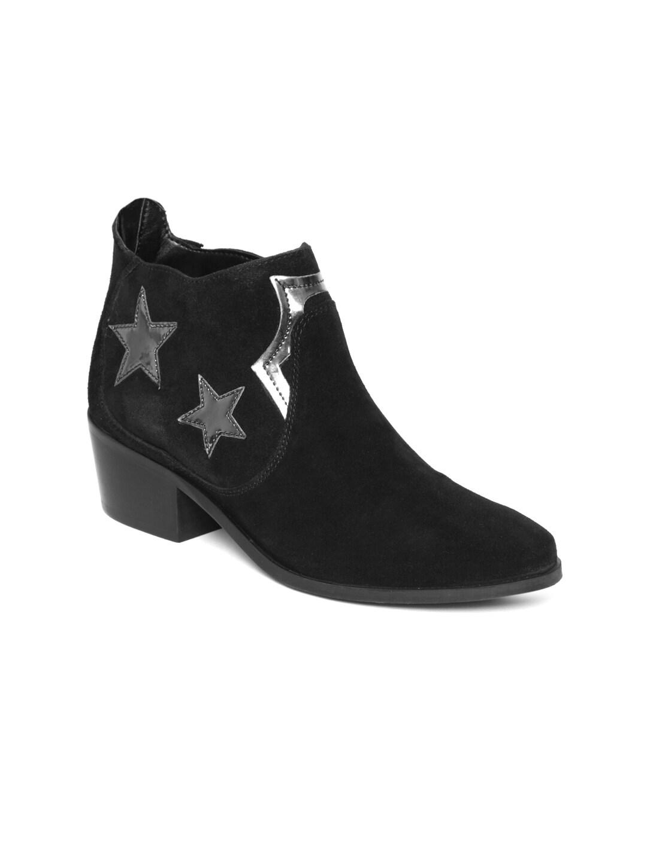 Carlton London Women Black Leather Heeled Boots image