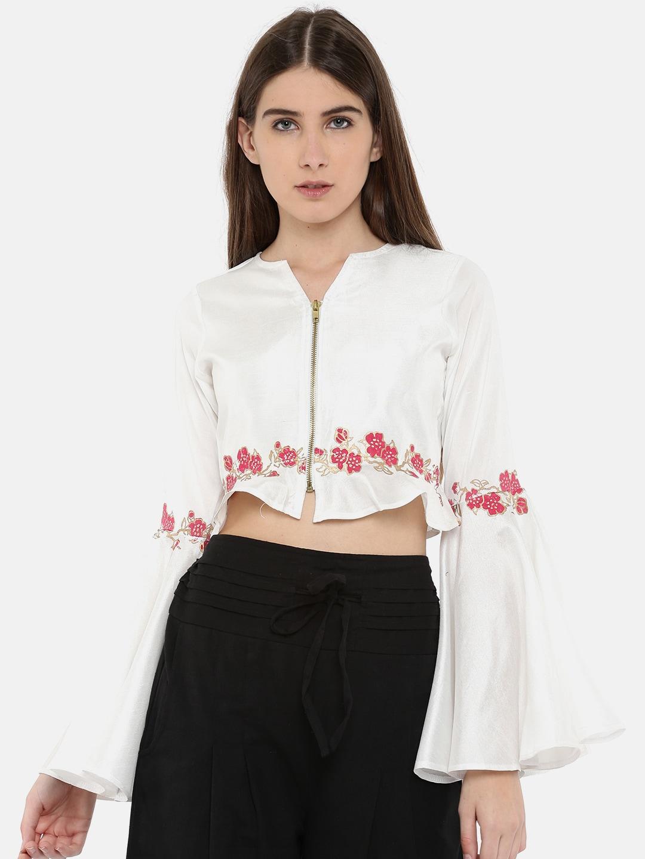 Ira Soleil Women White Printed Top image