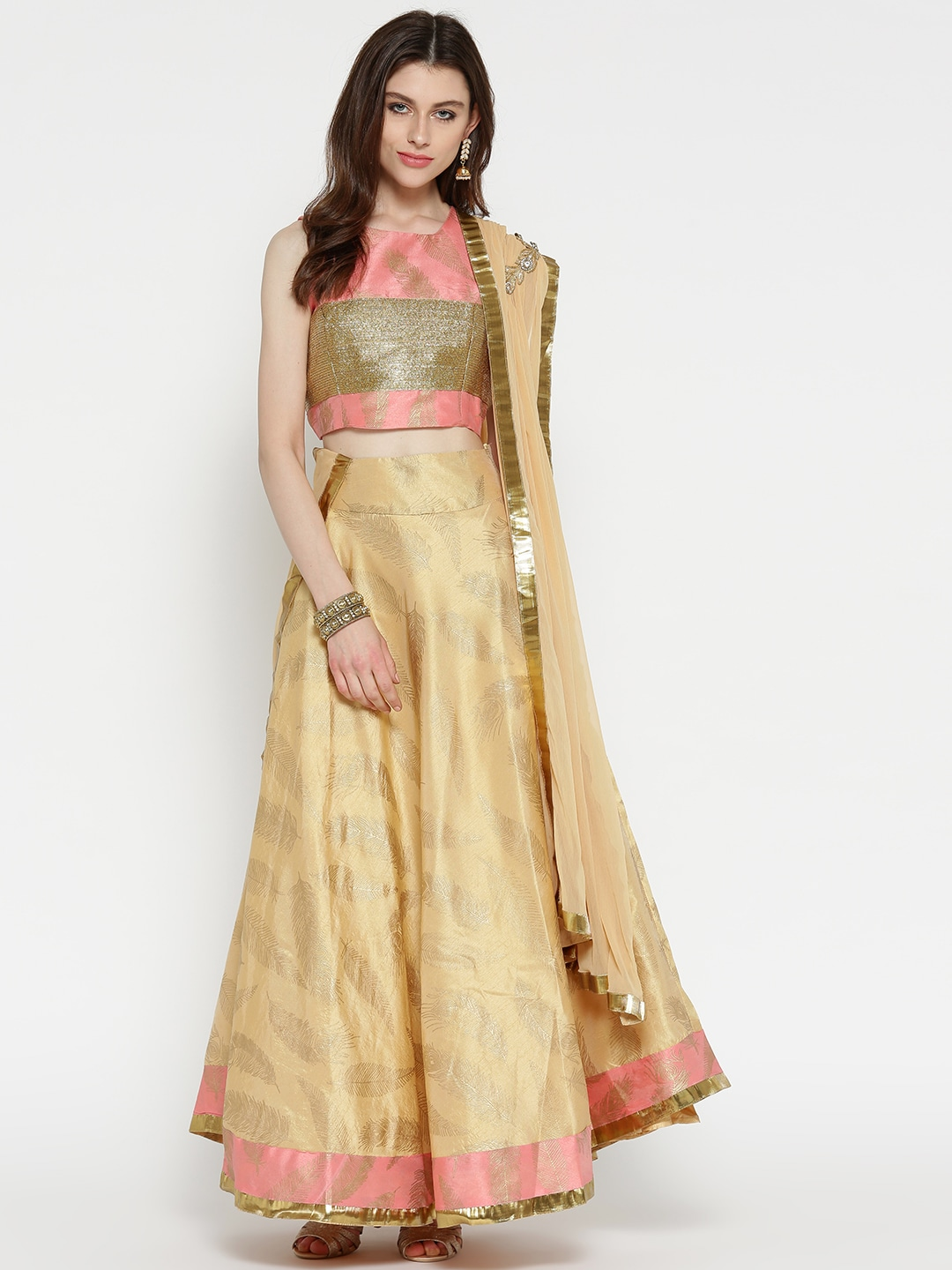 Ira Soleil Beige & Peach-Coloured Printed Ready to Wear Lehenga & Blouse with Dupatta image