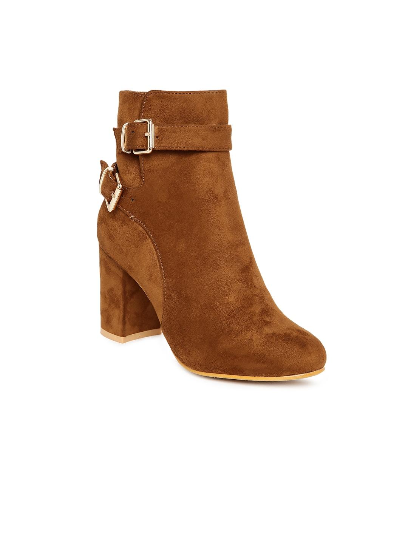Flat n Heels Women Tan Solid Heeled Boots image