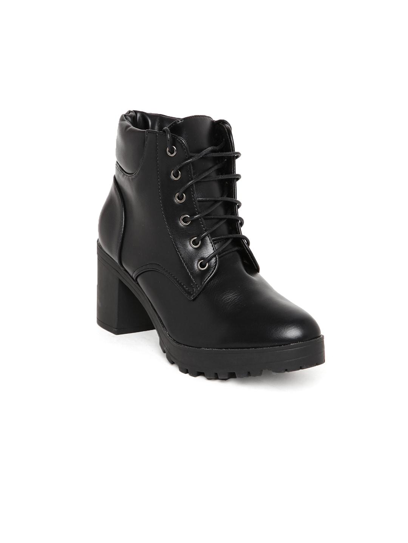 Flat n Heels Women Black Solid Heeled Boots image