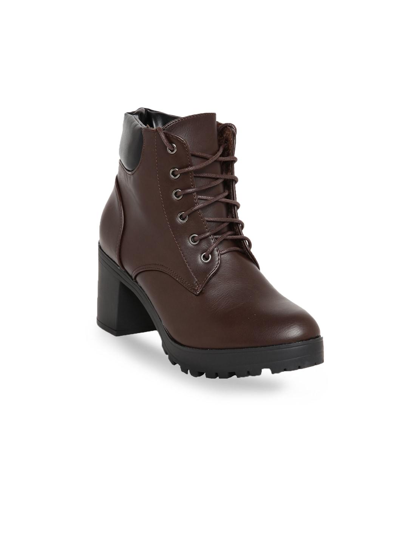 Flat n Heels Women Brown Solid Heeled Boots image