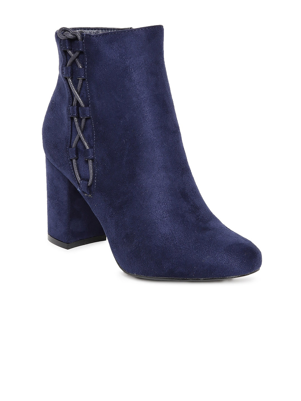 Flat n Heels Women Navy Blue Solid Heeled Boots image