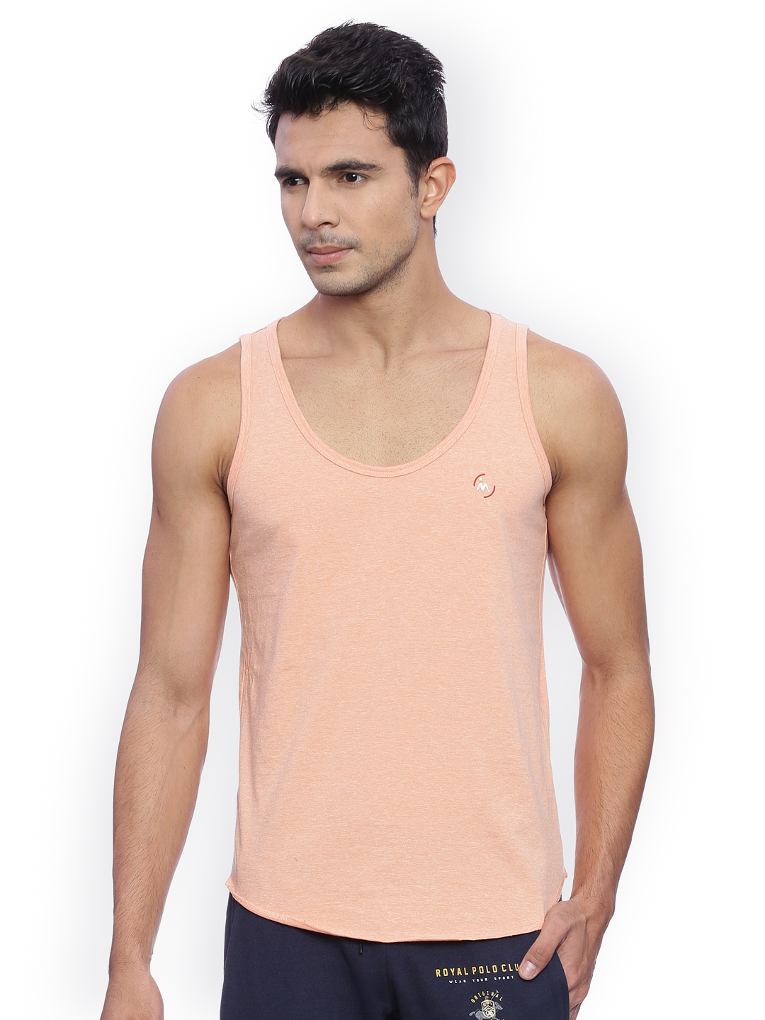 Masculino Latino Men Peach-Coloured Solid T-shirt image
