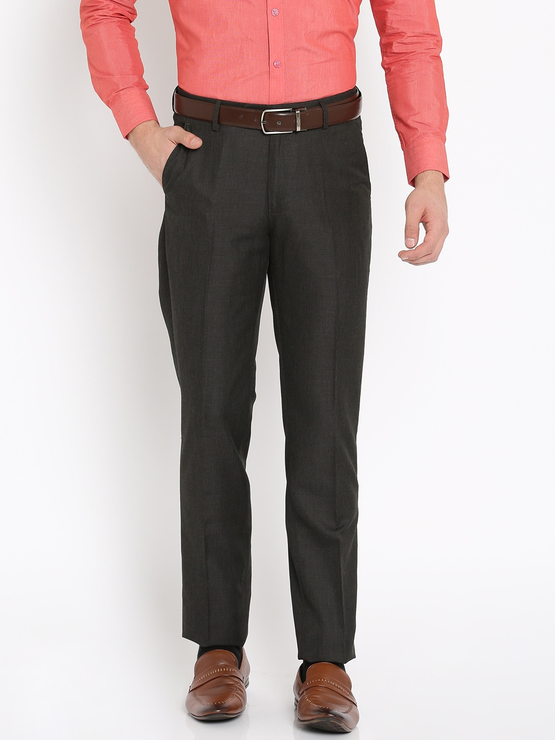 Peter England Men Charcoal Grey Slim Fit Solid Formal Trousers image