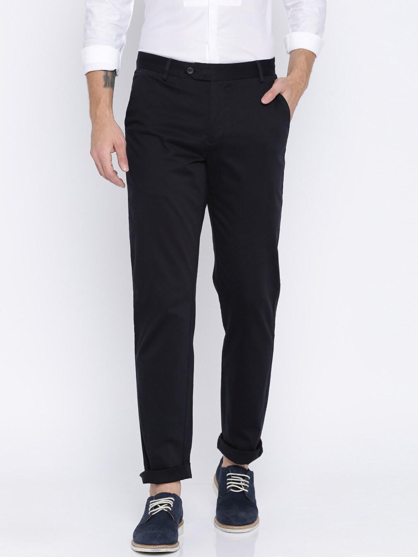 Peter England Men Black Slim Fit Solid Chinos image